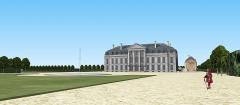 Château des Caramans - Français:   Vue du château côté jardin, depuis l\'une des deux allées latérales du grand axe. XVIIIe siècle.