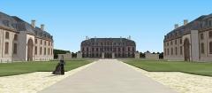 Château des Caramans - Français:   Vue du château de Roissy depuis le portail d\'entrée. XVIIIe siècle.
