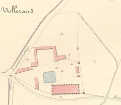 Domaine de la grange cistercienne de Vollerand - English: Plan of the Vaulerent Barn. Cadastral map of  Villeron, former Seine-et-Oise, now Val-d'Oise, France
