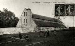 Domaine de la grange cistercienne de Vollerand - English: Postcard of the Barn of Vaulerent, Villeron, former Seine-et-Oise, now Val-d'Oise, France