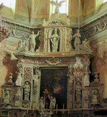 Eglise Saint-Nicolas-de-Myre - Français:   Jausiers (Alpes-de-Haute-Provence, France), église St Nicolas-de-Myre, retable du maître-autel.