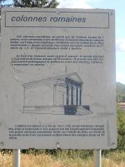 Quatre colonnes antiques surmontées d'un entablement -  Alpes-de-Haute-Provence, Riez, Panneau signalétique de présentation des 4 colonnes romaines
