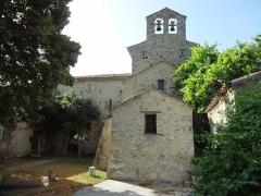 Eglise -  Église Saint-Martin de Saint-Martin-les-Eaux (Alpes-de-Haute-Provence), mur est avec clocher mur