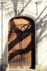 Chapelle Saint-Jean - English: The Chapelle Saint-Jean de Saint-Michel-l'Observatoire (also known as Saint-Jean-de-Fuzils) is a listed monument. This photograph shows the detail and inscriptions around the main entry to the chapel.