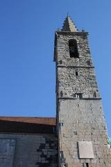 Eglise - Deutsch: Katholische Kirche Notre-Dame-de-Nazareth in Seyne, einer Gemeinde im Département Alpes-de-Haute-Provence in in der französischen Region Provence-Alpes-Côte d'Azur, Glockenturm