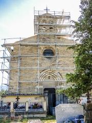 Eglise - Français:   Façade de l\'église de Lagrand Hautes-Alpes