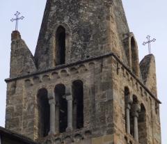 Eglise paroissiale Saint-Marcellin - Français:   Clocher de l\'église Saint Marcellin à la Salle les Alpes. On peut distinguer les cloches.