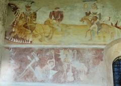 Eglise - Français:   Les Vigneaux - Église Saint-Laurent - Peinture murale des 7 péchés capitaux et de leurs châtiments: l\'Orgueil devant la bouche de l\'Enfer, suivi de l\'Avarice et de la Luxure
