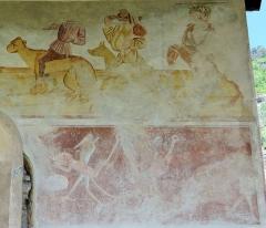 Eglise - Français:   Les Vigneaux - Église Saint-Laurent - Peinture murale des 7 péchés capitaux et de leurs châtiments: la Colère et la Gourmandise