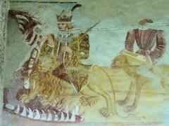 Eglise - Français:   Les Vigneaux - Église Saint-Laurent - Peinture murale des 7 péchés capitaux et de leurs châtiments: L\'Orgueil devant la bouche de l\'Enfer et l\'Avarice