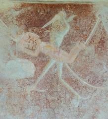 Eglise - Français:   Les Vigneaux - Église Saint-Laurent - Peinture murale des 7 péchés capitaux et de leurs châtiments: le châtiment de la Colère poignardée par un démon