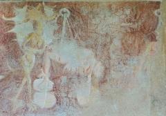 Eglise - Français:   Les Vigneaux - Église Saint-Laurent - Peinture murale des 7 péchés capitaux et de leurs châtiments: châtiment de la Luxure vec de lourdes pierres attachées aux chevilles et au cou, elle est brûlée par un démon
