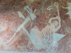 Eglise - Français:   Les Vigneaux - Église Saint-Laurent - Peinture murale des 7 péchés capitaux et de leurs châtiments: châtiment de l\'Avarice