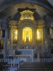 Eglise Notre-Dame de la Garoupe - English: Choir of the church of Our Lady of la Garoupe, at the cap d'Antibes, Alpes-Maritimes, France. From left to right, paintings of Saint-Roch, Notre-Dame de la Garde et Saint-Sebastian.