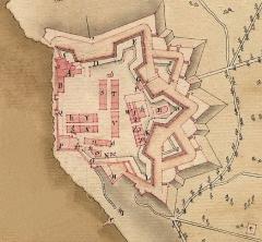 Fort, actuellement Musée de la Mer - Français:   Plan fait en 1775 du fort Sainte-Marguerite