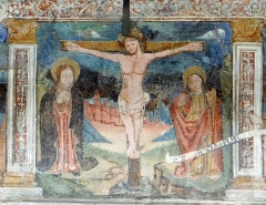Chapelle Saint-Sébastien - Français:   Entraunes - Chapelle Saint-Sébastien et Saint-Roch - Crucifixion entre la Vierge et saint Jean. Au fond, une ville, probablement Jérusalem