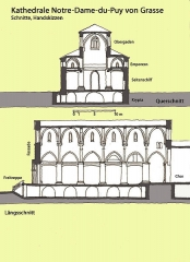 Cathédrale - Deutsch: Kathedrale Notre-Dame-du-Puy von Grasse, Schnitte, Handskizze