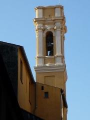 Chapelle Sainte-Croix dite chapelle des Pénitents Blancs - Français:   Clocher de la chapelle Sainte Croix des pénitents blancs de Nice, après sa restauration de septembre 2011.