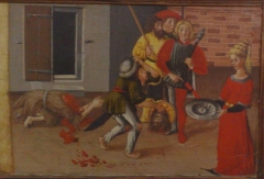 Musée des Beaux-arts Jules Chéret - Français:   Détail du retable Saint Jean-Baptiste (provenant de l\'église de Lucéram) par Jacques Durandi - Musée des Beaux-Arts de Nice