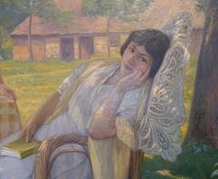 Musée Cheret - Nederlands: Sous les pommiers, onder de appelbomen, schilderij van Julie de Cistello, Musée de Beaux-Arts, Nice, detail