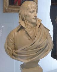 Musée Masséna - Nice (Alpes-Maritimes, France), sur la promenade des Anglais, la Villa (palais plutôt) Masséna, siège du musée du même nom. Buste de Napoléon Bonaparte, premier consul par Charles-Louis Corbet, plâtre teinté, 1798.
