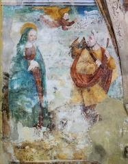 Chapelle Notre-Dame d'Entrevignes - Français:   Sigale - Chapelle Notre-Dame-d\'Entrevignes - Peinture du chevet: Suspicion e Joseph. Marie, enceinte, les mains croisées. Joseph s\'apprête à partir et regarde Marie avec amertume. Un ange intervient et désigne le phylactère sur lequel il est écrit: \