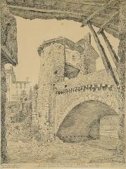 Vieux pont et tour qui le surmonte - Français:   Combes F. - Ink - Sospel, le Pont-Vigie - 31.5x23.1cm; daté du 6 juin 1925. Le dessin porte en bas au centre, de la main de l'artiste, les inscriptions suivantes (la première phrase est une citation fameuse de J.D. Ingres):  «Le Dessin est LA PROBITE DE L'ART!» «A Monsieur INGRES et à Sospelitris et à son vieux PONT-Vigie»  Et à gauche, au dessus de la signature: «En Très Haute EMOTION».