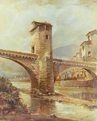 Vieux pont et tour qui le surmonte - Français:   Acquis par la municipalité de Sospel
