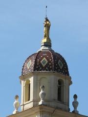 Sanctuaire de Laghet - English: Top of the steeple of the monastery of Notre-Dame-de-Laghet (Alpes-Maritimes, France).