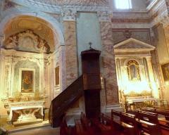 Eglise - Français:   La Turbie (Alpes-Maritimes, France), église St Michel-Archange, intérieur;