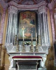 Eglise - Français:   La Turbie (Alpes-Maritimes, France), église St Michel-Archange, intérieur; chapelle des Âmes du Purgatoire (première à droite en entrant), autel-retable et sa toile tous trois classés M.H..