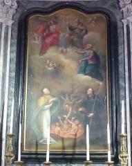 Eglise - Français:   La Turbie (Alpes-Maritimes, France), église St Michel-Archange, intérieur; chapelle des Âmes du Purgatoire, toile le Rachat des Âmes du Purgatoire.