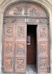 Eglise Saint-Veran - Français:   Utelle - Église Saint-Véran - Vantaux de porte datant de 1542 représentant 12 vies de saint Véran