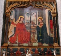 Eglise Saint-Veran - Français:   Utelle - Église Saint-Véran - Retable avec tableau de l\'Annonciation peint vers 1540 par l\'école de Louis Bréa