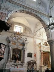 Eglise Saint-Veran - Français:   Utelle - Église Saint-Véran - Autel et retable de Saint-Joseph avec toile la mort de St Joseph  (collatéral sud)