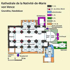 Ancienne cathédrale de la Nativité-de-Notre-Dame - Deutsch: Kathedrale von Venced, Grundriss, Handskizze