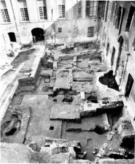 Ancien archevêché, puis Musée des tapisseries et théâtre - Français:   Fouilles du Palais de l\'Archevêché d\'Aix, 1984-85.