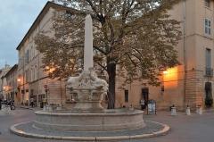 Fontaine des Quatre-Dauphins - English: Fontaine-des-Quatre-Dauphins fountain and  Place des-Quatre-Dauphins square in Aix-en-Provence.