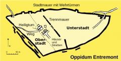 Vestiges de l'oppidum celto-ligure d'Entremont - Deutsch: Karte vom Oppidum Entremont.