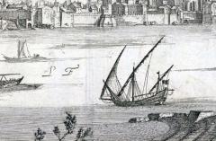Pont romain immergé dans le Rhône -  Vue d'Arles en 1660 (détail) Vestiges du pont romain dit de