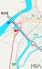 Pont Van-Gogh et maison pontière - English: This rough map, adapted from a screenshot from OSM, shows locations of Langlois bridge (red) and today's Van Gogh bridge (green). Dark blue shows the channel entrance as of 1888.