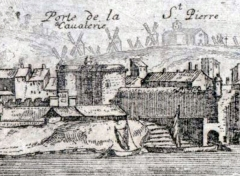 Porte de la Cavalerie -  Vue d'Arles en 1660 (détail)  Porte de la Cavalerie à l'entrée nord de la ville.