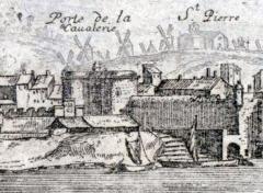 Remparts -  Vue d'Arles en 1660 (détail)  Porte de la Cavalerie à l'entrée nord de la ville.