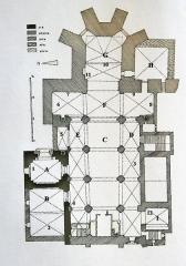 Abbaye Saint-Victor -  Plan de l'abbaye de Saint-Victor à Marseille. Fond de plan extrait du Congrés archéologique de France tenue à Aix-en-Provence en 1932 (Paris, Picard, 1933)