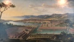 Arsenal des Galères , actuellement entrepôt - Français:   Tableau (huile sur toile) de 1668 attribué à Jean-Baptiste de La Rose représentant un projet d\'arsenal des galères à Marseille, projet qui ne sera jamais réalisé.