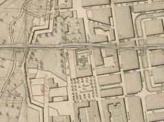 Arsenal des Galères , actuellement entrepôt - Français:   Zone sud de l\'arsenal de Marseille en 1785. Emplacement hypothétique du cimetière de l\'arsenal des galères.