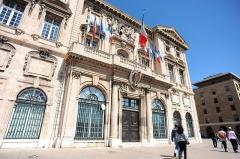 Hôtel de ville -  Front view of Hôtel de ville de Marseille (town hall, xvii century, by Gaspard Puget, Jean-Baptiste Méolans), Villeneuve de Bargemon Square. Marseille, Provence-Alpes-Côte d'Azur,  Southeastern France ,  Western Europe.