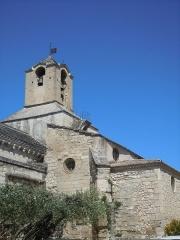 Eglise paroissiale Saint-Baudile - Français:   L\'église saint Baudile de Noves date du XII° siècle et est classée monument historique. Elle est parfois utilisée comme décor pour le cinéma.