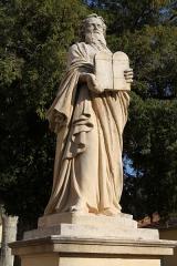 Eglise Saint-Laurent - English: Statue of Moses near the collegiate church Saint-Laurent in Salon-de-Provence (Bouches-du-Rhône, France)