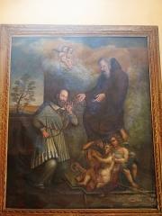 Chapelle Saint-François-de-Paule - English: Painting of the chapel Saint-François-de-Paule in Bormes-les-Mimosas (Var, France): Saint-François de Sales receiving the string from Saint-François de Paule.